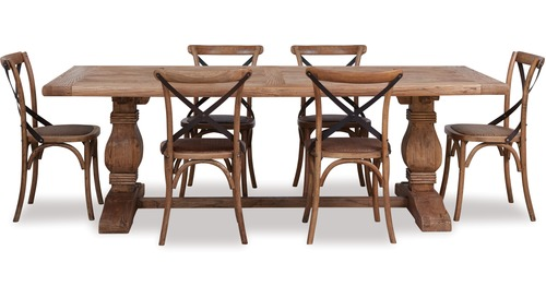 Old Elm Dining Table & Cross Chairs x 6